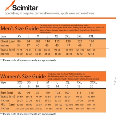 scimitar size guide