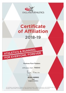 ELECTRONIC AFFILIATION CERTIFICATE 2018 Pershore Plum Plodders